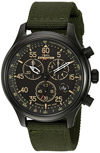 Timex Men's TW4B10300 Expedition Field Chrono Green/Black Canvas Strap ()