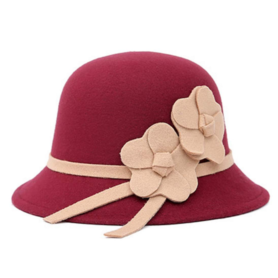 Mens Fedora Hat Unisex Vintage Stylish Wool Felt Bowler Cap Casual Floppy Trilby Jazz Hat with Flowers for Lady