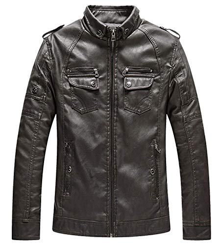 Zipper Mens De PU Stand Collar Cuero NEN Coffee RM Motorista Chaqueta Simple Estilo Winter Vintage De Hombres Chaqueta Loose Leather Plus Coat Velvet Warm wXxS7H6pq