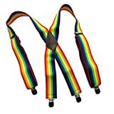 "Contractor Series 2"" Wide Colorful Rainbow pattern X-back Suspenders with Patented No-Slip Clip"