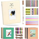 Katia 128 Pockets 3-inch Photo Album Accessories for Fujifilm Instax Mini 7s/ 8/9/ 25/ 50s Instant Camera with Hanging Frame/Stickers/ Pen -Smokey Beige
