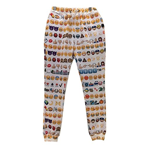 Nice Emoji Smile Faces 3D Sweatpant Trousers Tracksuits for Men/Boys joggers (XL) for cheap