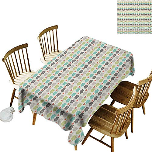 kangkaishi Iron-Free Anti-fouling Holiday Long Tablecloth Table decorationElephants in Love Valentines Hearts Adorable Silhouettes Little Trunks Adoration W54 x L108 Inch Multicolor