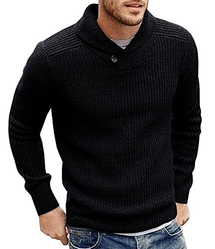 (Runcati Mens Sweaters Shawl Collar Slim Fit Pullover Fall Winter Casual Knit Ribbed Coat Black)