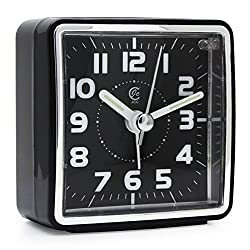 JCC Mini Travel Analog Alarm Clock, Non-Ticking-Battery Operated, Quartz Clock with 5 min Snooze- Loud Ascending Sound- Alarm Clocks with Night Light for Traveling, Backpacking (Black - Square Dial)