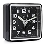 clocks with lighted dials - JCC Mini Travel Analog Alarm Clock, Non-Ticking-Battery Operated, Quartz Clock with 5 min Snooze- Loud Ascending Sound- Alarm Clocks with Night Light for Traveling, Backpacking (Black - Square Dial)