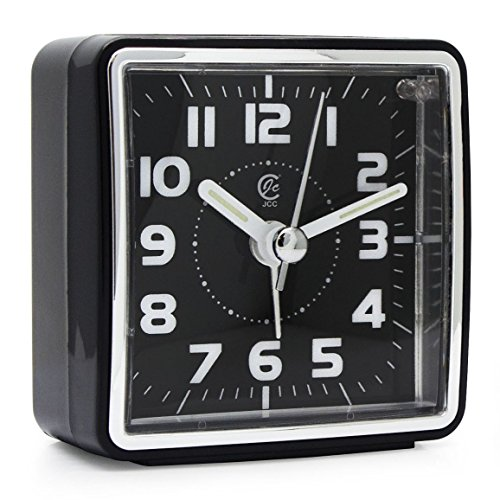 (JCC Mini Travel Analog Alarm Clock, Non-Ticking-Battery Operated, Quartz Clock with 5 min Snooze- Loud Ascending Sound- Alarm Clocks with Night Light for Traveling, Backpacking (Black - Square Dial))