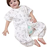 DGAGA Toddler Sleeping Sack Summer Four Layer Muslin Wearable Blanket Short Sleeve