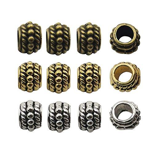 (Youdiyla 120pcs European Beads, 7mm, Bracelet Bead Charms, Antique Silver+Bronze+Gold Tone, Metal Big Hole Spacer Beads Charm, Compatible with Pandora Bracelets (HM232))