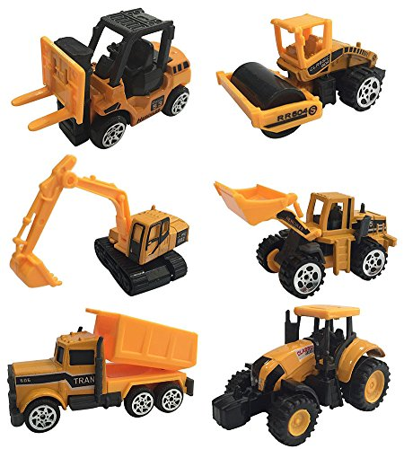 Cltoyvers 6 Pcs Mini Metal Construction Vehicle Playset - Forklift, Bulldozer, Road Roller, Excavator, Dump Truck, Tractor