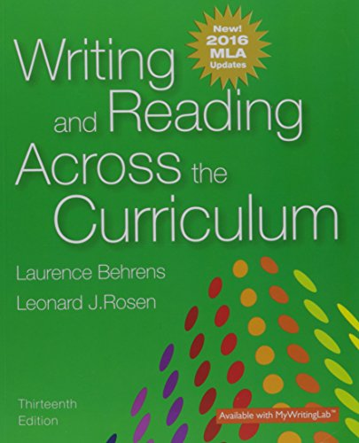 Writing+Reading Across Curr..,Mla Updtd