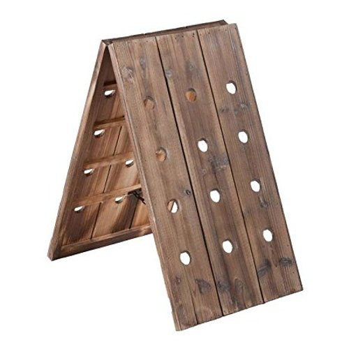 Vintage Style 24 Bottle Distressed Wood Riddling Wine Rack (Riddling Wine Rack)
