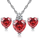 925 Sterling Silver Heart CZ Cubic Zirconia Crystal Pendant Necklace Stud Earrings Jewerly Set for women teen girls Gift (Red)