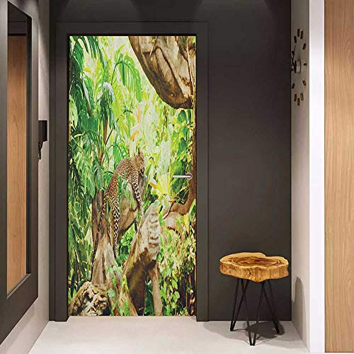 Onefzc Door Sticker Mural Safari Leopard on The Branch in Savannah Exotic Macro Tropical Leaf Jungle Wild Nature Art WallStickers W23.6 x H78.7 Brown Green