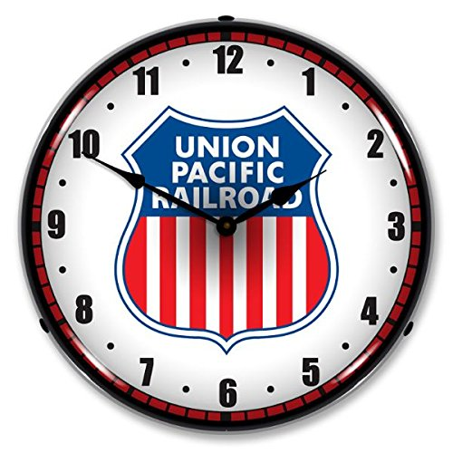 New Union Pacific Railroad Retro Vintage Style Advertising Backlit Lighted Clock - Ships Free Next Business Day to Lower 48 States