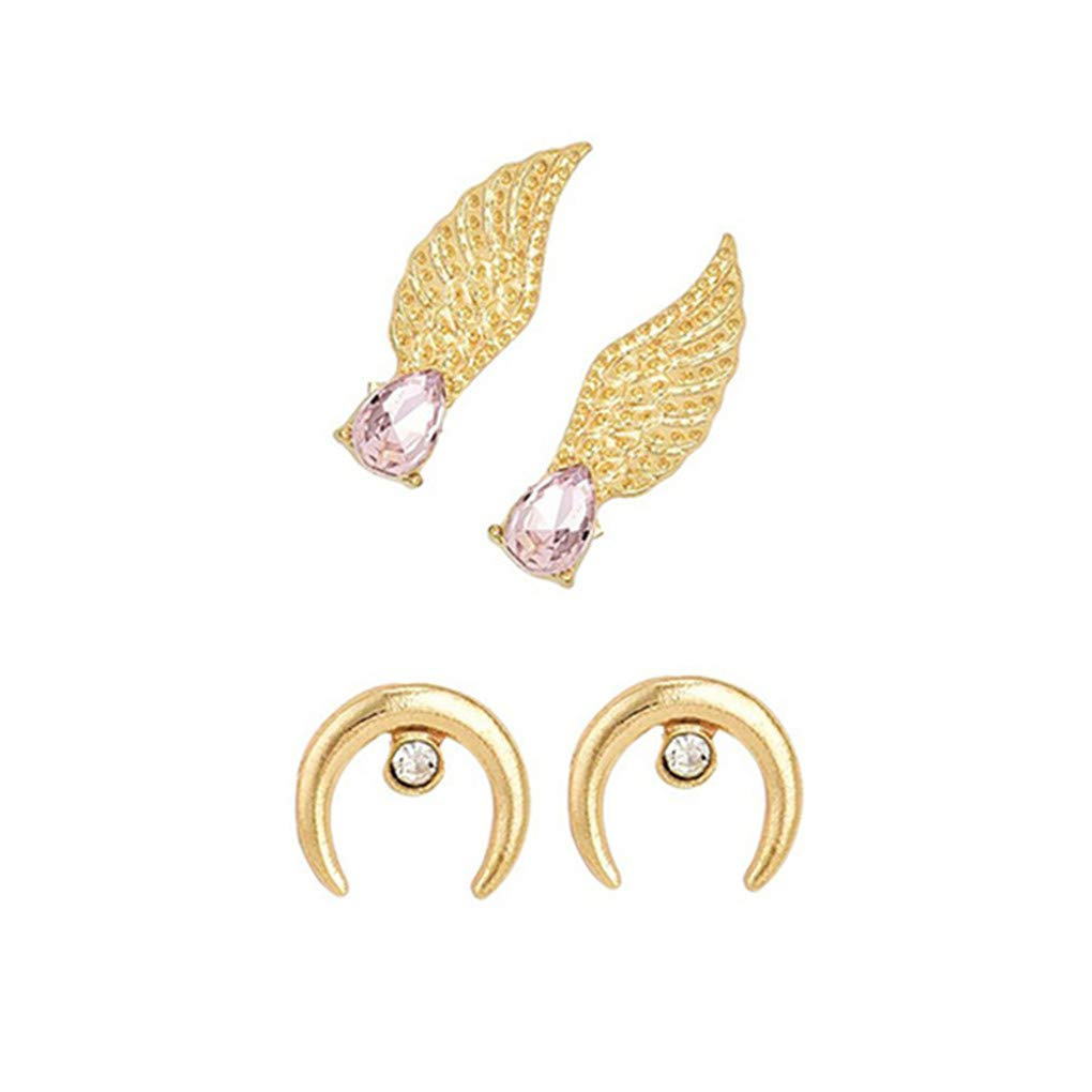 Meolin Personality Wings Moon Type Earrings Set Rhinestone Jewelry Accessories Temperament Jewelry Costume Makeup Tools for Women