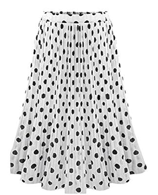 Fseason-Women Chiffon Polka Dot Lined Mid Long Print Soft Skater Skirt