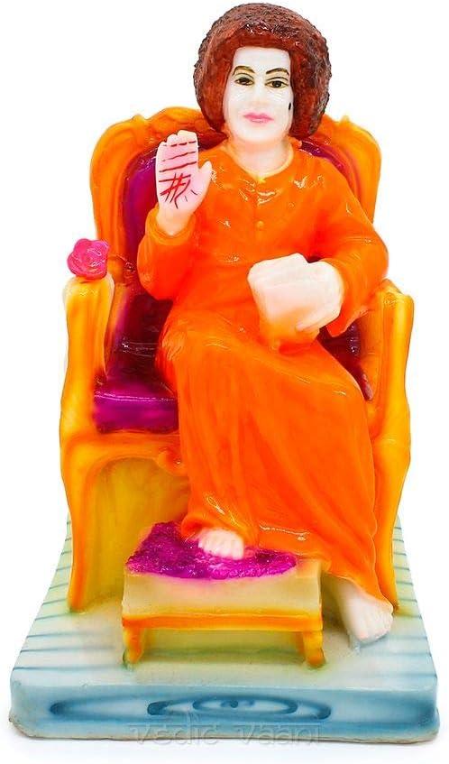 Vedic Vaani Elegant Rare Spiritual Leader Shree Sathya Sai Baba Blessing Mode Hand Painted Polyresin Statue Idol in Sitting Position, for Daily Worship, Indian Made