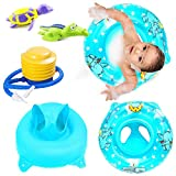 Inflatable Swimming Ring Pool Float Seat Bathing Tub, with Bathtub Toys Turtle and Crocodile Wind up Water Toy