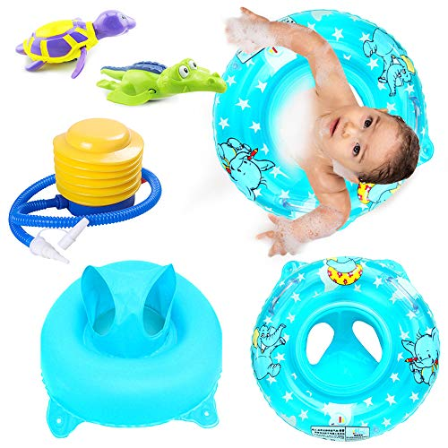 Inflatable Bathing Tub Seat Pool Float Swimming Ring, with Bathtub Toys Turtle and Crocodile Wind up Water Toy