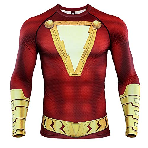 Shazam 3D Print T Shirt Men's Compression Shirt (Large, Red) -