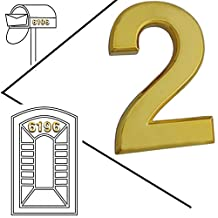 Magicdo® Small Golden Modern Mailbox number, modern house numbers sticker, 3D metal shining reflective number, Self Stick number, floating appearance number, house number sign vinyl number (2, Golden)