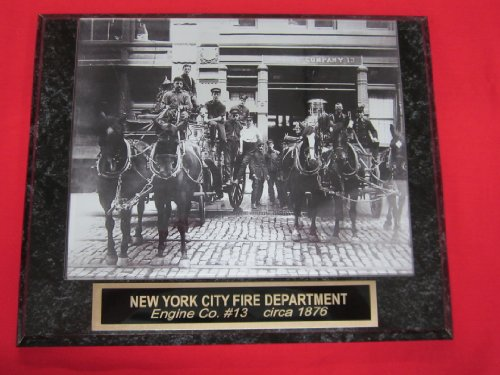 FDNY New York City Fire Department Engraved Collector Plaque w/8x10 Firehouse Photo Circa 1876