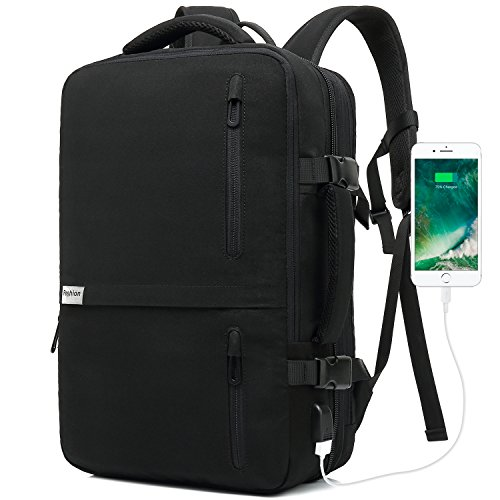 Lifeasy Travel Backpack, 35L Carry-On Daypack Flight Approved Laptop Expandable Weekender Multipurpose Trip Bag Business Backpacks with USB Charging Port Black