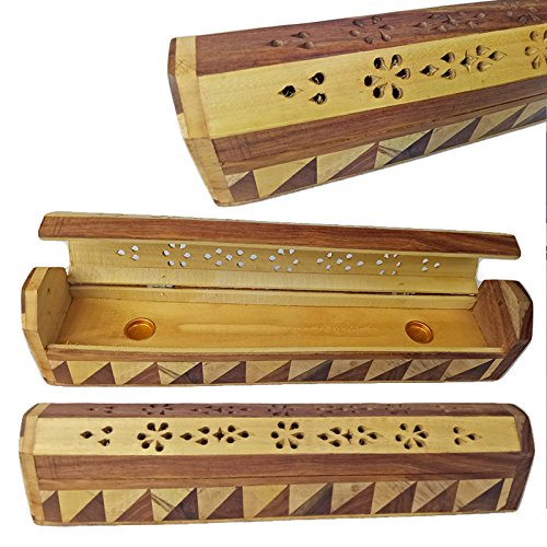 Incense Burner Box (NEW DESIGN 2017 TIZIL HANDICRAFT Incense Burner Exquisite Hand Carved Wooden Incense Stick,cone Holder Box with double shaded design Work & Storage Compartment)
