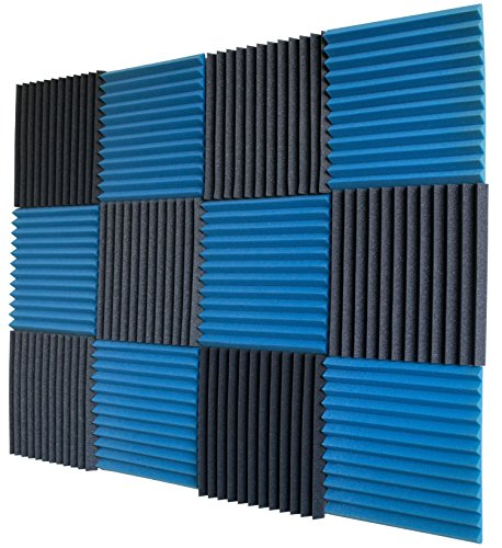 12 Pack- Ice Blue/Charcoal Acoustic Panels Studio Foam Wedges 1