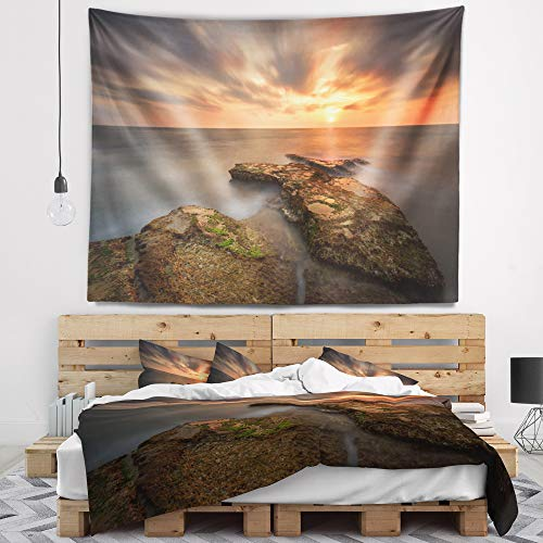 Designart TAP9460-80-68 'Sunset at Atlantic Coast Spain' Seascape Photography Tapestry Blanket Décor Wall Art for Home and Office, x Large: 80 in. x 68 in, Created on Lightweight Polyester Fabric by Designart