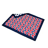 Bacati Mix and Match Dots Zigzag Comforter, Blue/Red