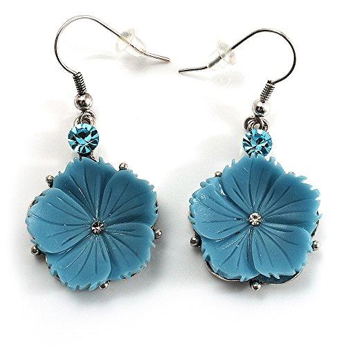Boucles d'Oreille Pendantes Pâquerette Bleu Ciel (Ton Argent)