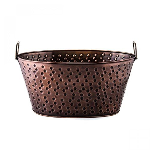 16.25 x 12 x8.25 Oval Antique Hammered Copper Party Tub 4 Gallons