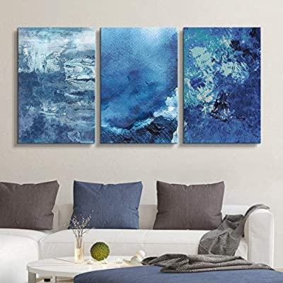 3 Panel Canvas Wall Art - Abstract Blue Artworks - Giclee Print Gallery Wrap Modern Home Art Ready to Hang - 16