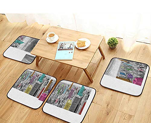 - Printsonne Universal Chair Cushions NYC New York City Skyline Panoramic Bathroom Personalized Durable W15.5 x L15.5/4PCS Set