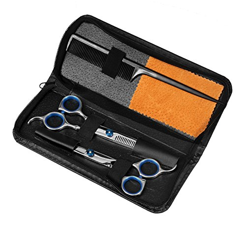 Queentools Professional Hair Cutting Scissors Shears Barber Scissors Thinning Kit With Black Storage Case