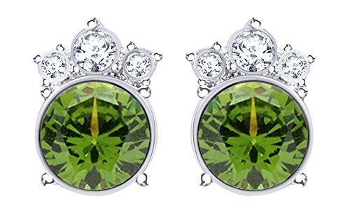 Round Cut Simulated Peridot Crown Stud Earrings In 14K White Gold Over Sterling Silver