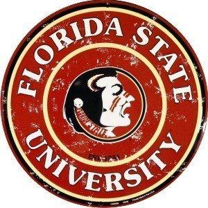 Florida State Seminoles Street Sign - HangTime FSU Seminoles 12 Inch Embossed Metal Nostalgia Circular Sign