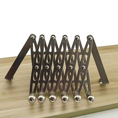 304 Stainless Steel Telescopic Over The Door Hook Organizer Rack Hanging Towel Rack Over Door, 6 Hooks 1 Pack by KKhouse (Image #4)