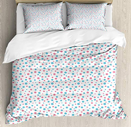 Z&L Home Blue and Pink Duvet Cover Bedding Sets Luxury Soft Flat Sheet Set with Pillow Shams for Kids Teen Girls Boys Men Women, Geometric Simplicity Pattern with Irregular Rounds Sweet Spots