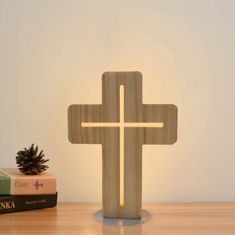 Lámpara de noche de madera en forma de cruz, Coopark 3D LED óptica luz nocturna, decoración de habitación personalizada, el mejor regalo de jubilación cristiana para mujeres amigas