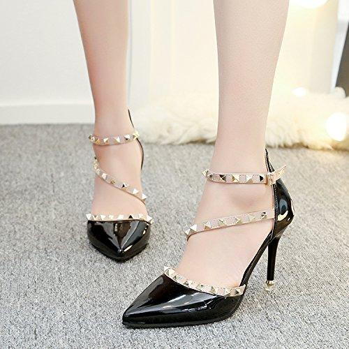 Unique L'Élégant Fixe High Bare Heels Femme Peu Sandales Avec Le SHOESHAOGE 17 Pointe EU36 Bouche Ryu Chaussures Qui Rivet Fine Profonde xXa5Yw