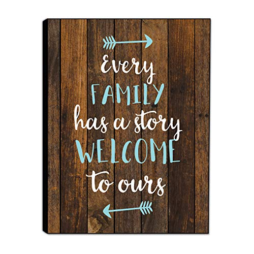 LACOFFIO Every Family Has A Story Sign – 9″x 12″ Wooden Wall Decor Plaque – Inspirational Home Decor Perfect for Kitchen and Living Room