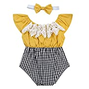 Oklady Baby Girls Summer Clothes Off-Shoulder Jumpsuit Lace Plaid Romper Outfit With Bow Headband(0-6 Months)