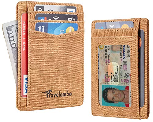 Travelambo RFID Front Pocket Minimalist Slim Wallet Genuine Leather Small Size (Washed Fan Brown)