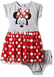 Disney Baby Girls' Minnie Mouse Knit Dress Set, Multi/Red, 6-9 Months (Pack of 2)