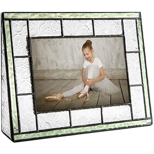 (J Devlin Pic 122-46H Green Picture Frame Tabletop 4x6 Horizontal Photo Frame Sage Green Stained Glass Family)