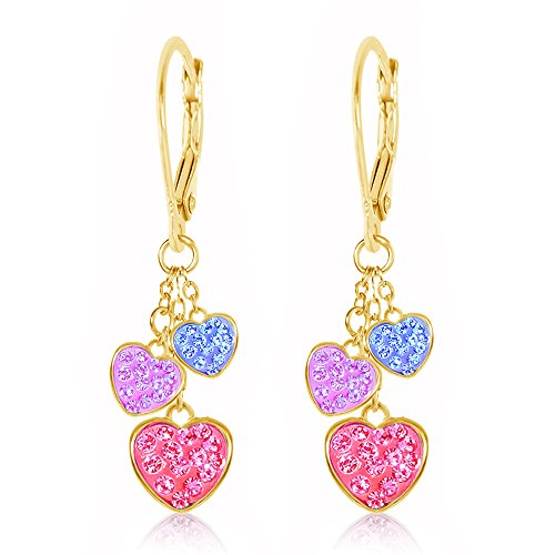 Kids Earrings - Yellow Gold Tone Multi Color Hearts Multi Color Crystal Earrings with Silver Leverbacks Baby, Girls, Children ()