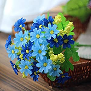 LNGRY Artificial Silk Fake Flowers Small Daisy Wedding Bouquet Party Home Decor (Blue) 61